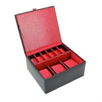 Dulwich Designs 70913 Black Watch and Cufflink Box With Red Lining